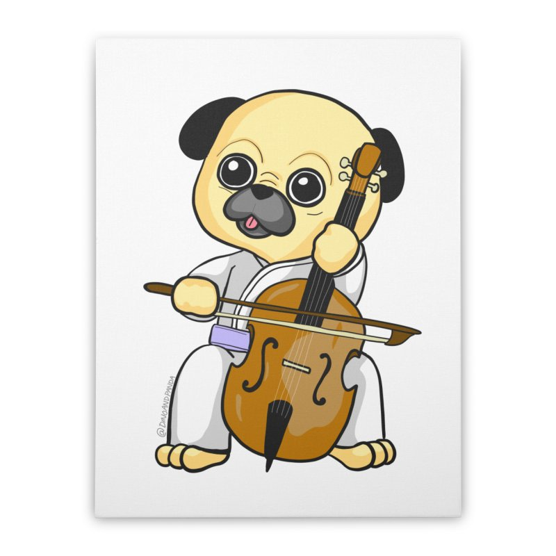 Puggie plays the Cello Home Stretched Canvas by Dino & Panda Inc Artist Shop