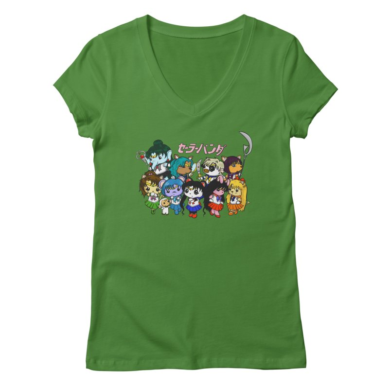 Sailor Panda and Friends Women's Regular V-Neck by Dino & Panda Inc Artist Shop