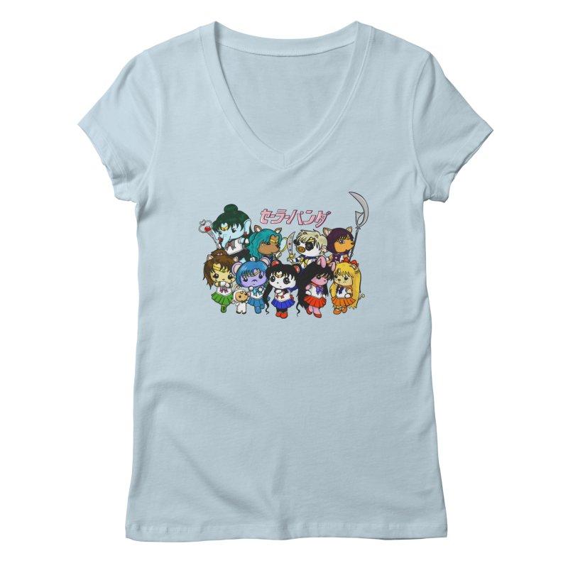 Sailor Panda and Friends Women's V-Neck by Dino & Panda Artist Shop