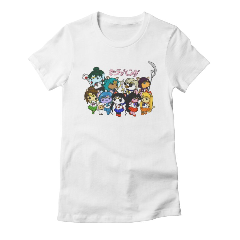 Sailor Panda and Friends Women's Fitted T-Shirt by Dino & Panda Inc Artist Shop