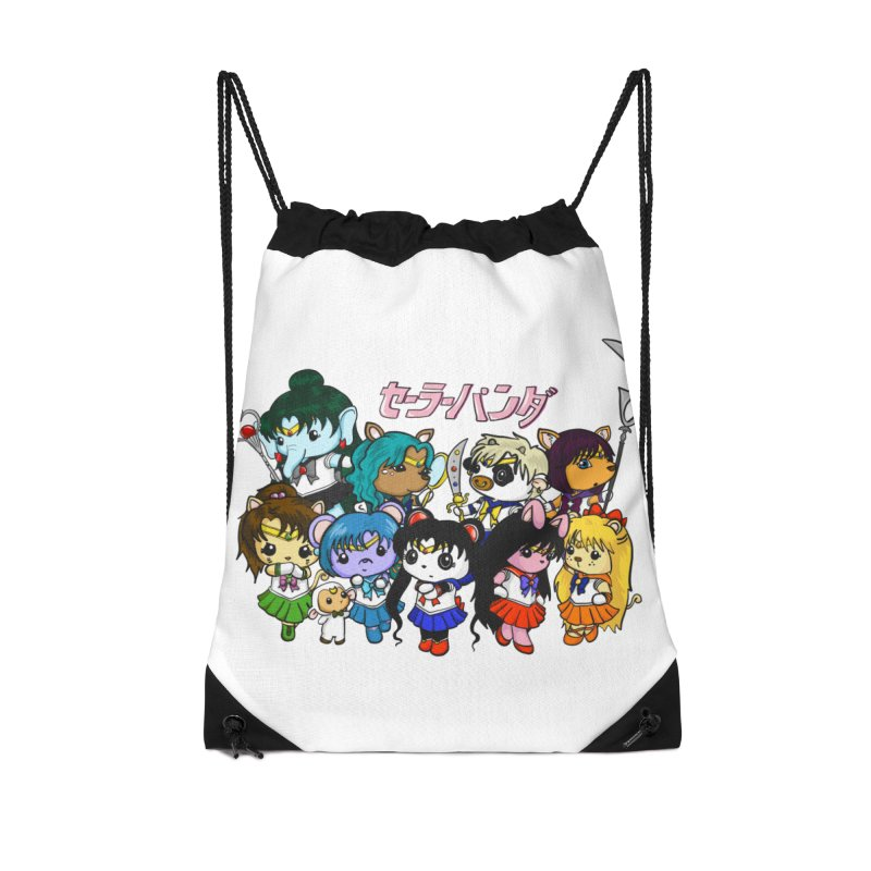 Sailor Panda and Friends Accessories Drawstring Bag Bag by Dino & Panda Inc Artist Shop