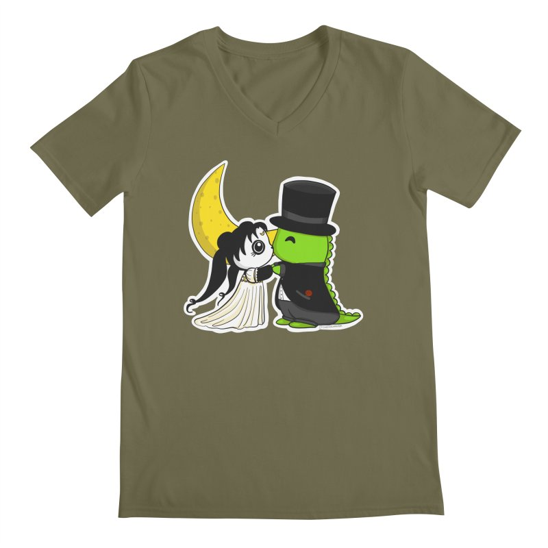 Princess Panda Serenity and Tuxedo Dino Men's Regular V-Neck by Dino & Panda Inc Artist Shop
