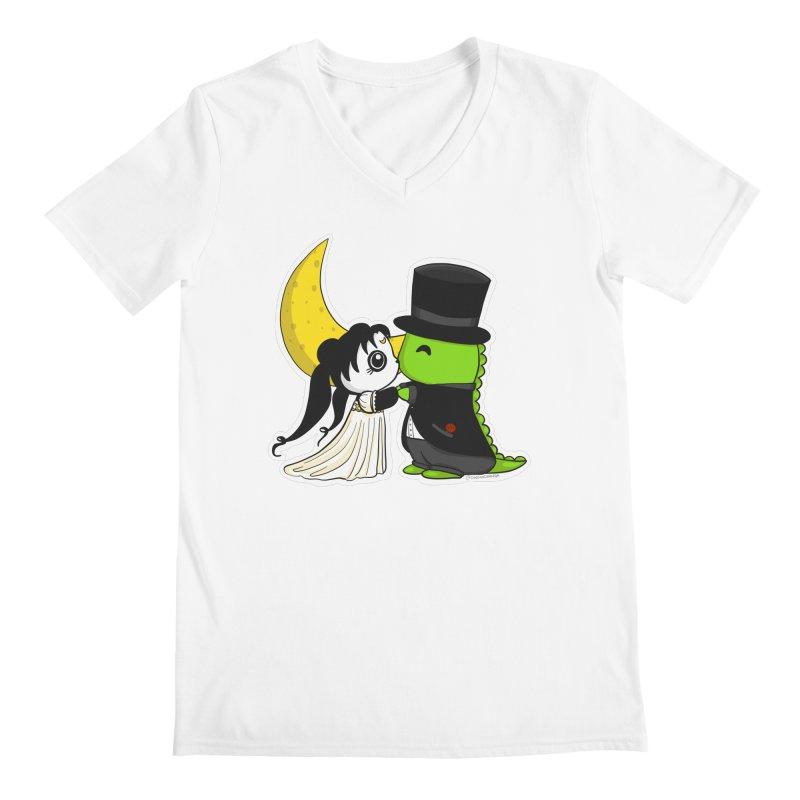 Princess Panda Serenity and Tuxedo Dino Men's V-Neck by Dino & Panda Artist Shop