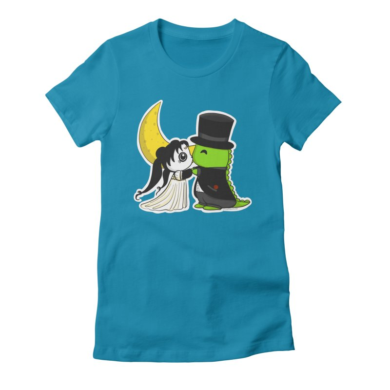 Princess Panda Serenity and Tuxedo Dino Women's Fitted T-Shirt by Dino & Panda Inc Artist Shop