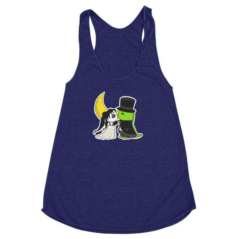 Princess Panda Serenity and Tuxedo Dino Women's Racerback Triblend Tank by Dino & Panda Inc Artist Shop