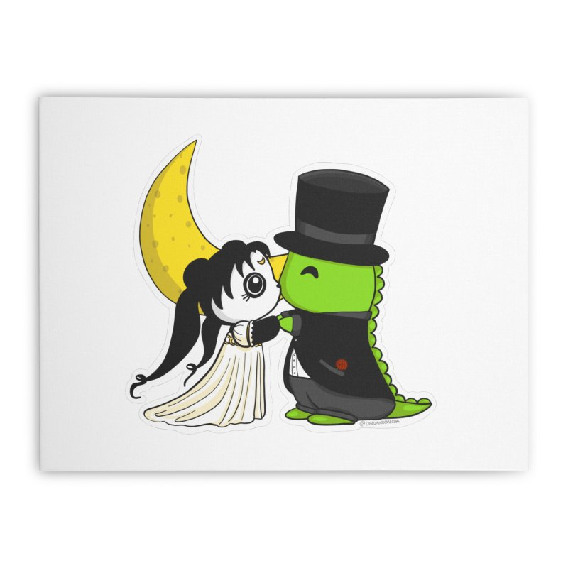Princess Panda Serenity and Tuxedo Dino Home Stretched Canvas by Dino & Panda Inc Artist Shop