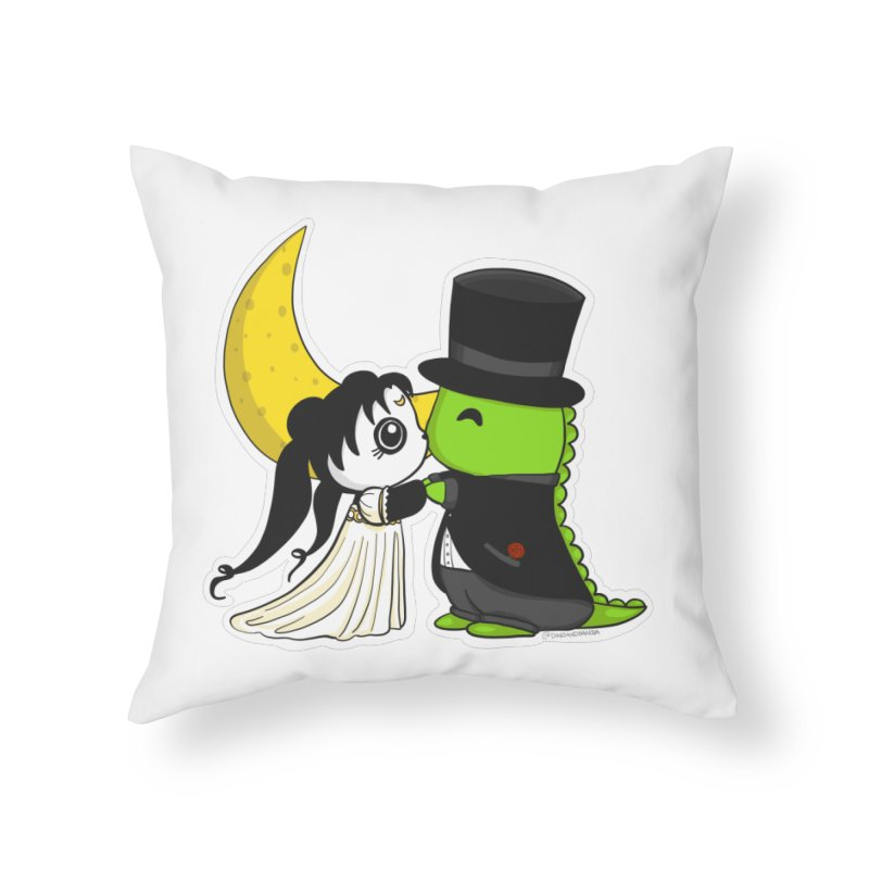 Princess Panda Serenity and Tuxedo Dino Home Throw Pillow by Dino & Panda Inc Artist Shop