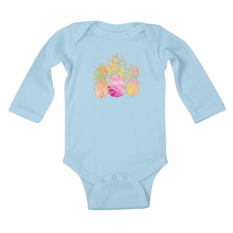 Pineapple Glam Kids Baby Longsleeve Bodysuit by Divinitium's Clothing and Apparel