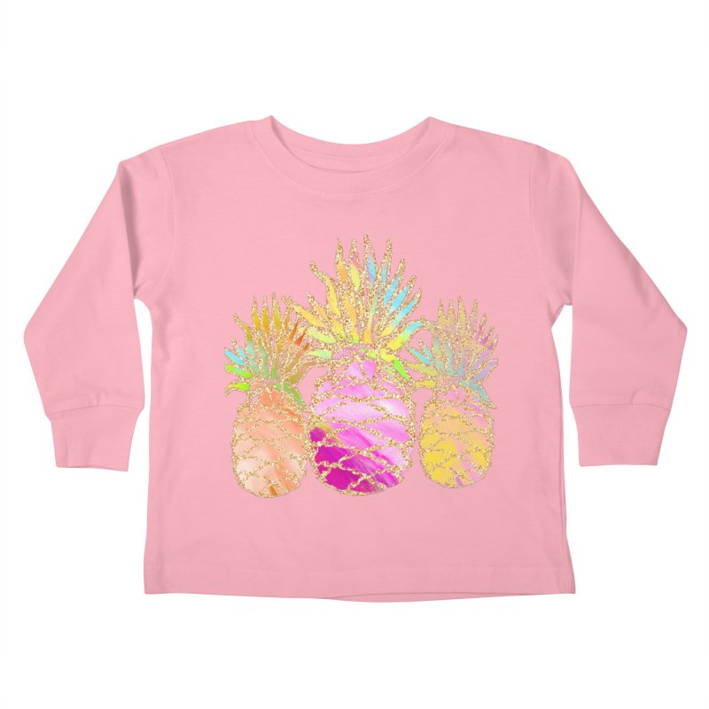 Pineapple Glam Kids Toddler Longsleeve T-Shirt by Divinitium's Clothing and Apparel