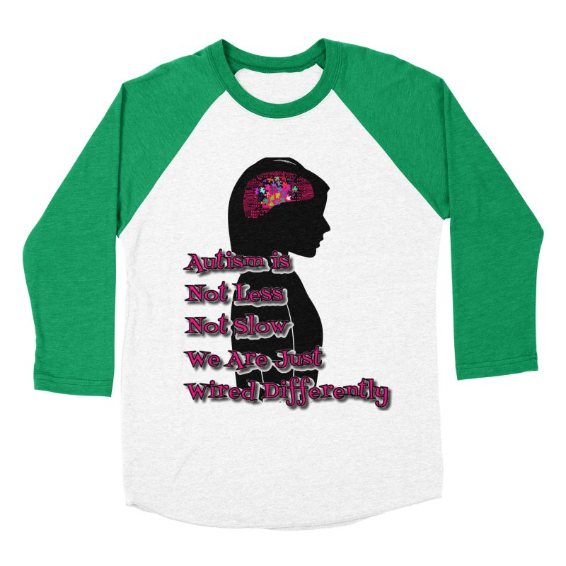 Autism is not (Pink Lettering) Women's Baseball Triblend Longsleeve T-Shirt by Divinitium's Clothing and Apparel