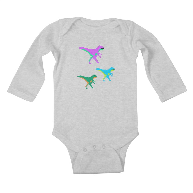 Dino Time Kids Baby Longsleeve Bodysuit by Divinitium's Clothing and Apparel