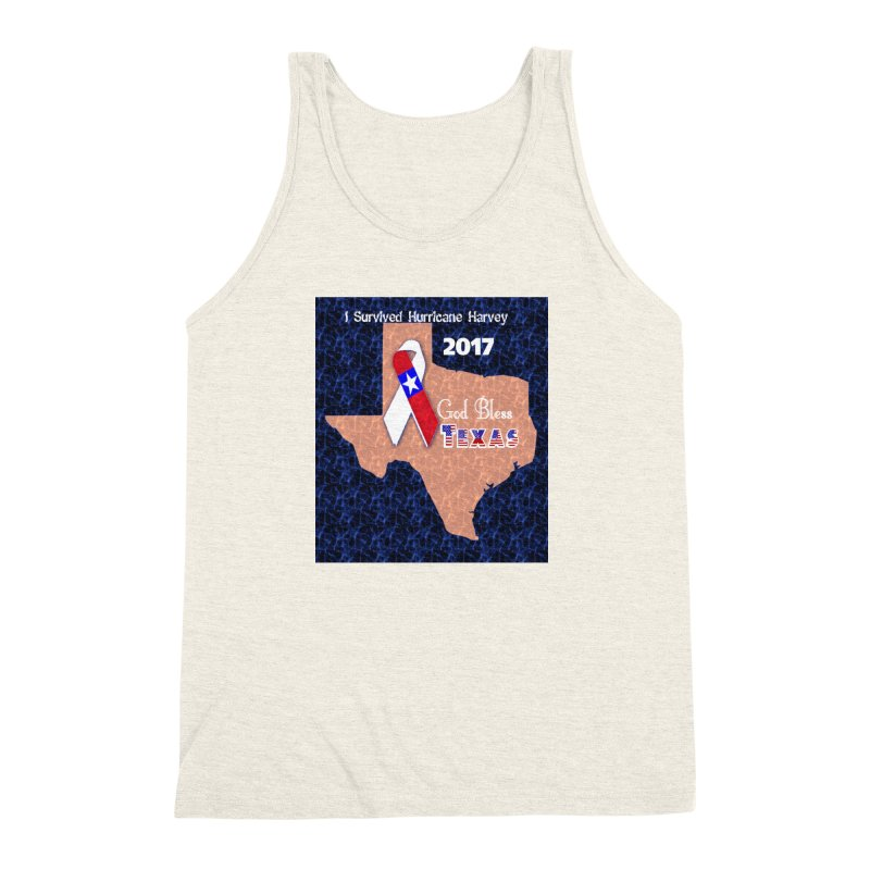 Hurricane Harvey Survivor Men's Triblend Tank by Divinitium's Clothing and Apparel