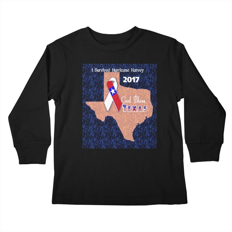 Hurricane Harvey Survivor Kids Longsleeve T-Shirt by Divinitium's Clothing and Apparel