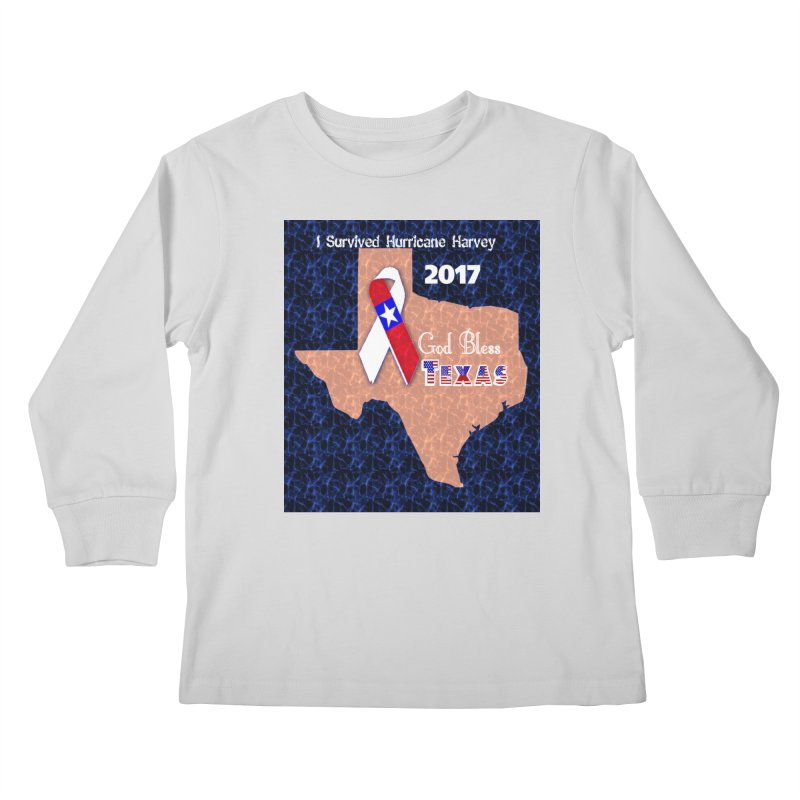Hurricane Harvey Survivor Kids Longsleeve T-Shirt by Divinitium's Clothing and Apparel