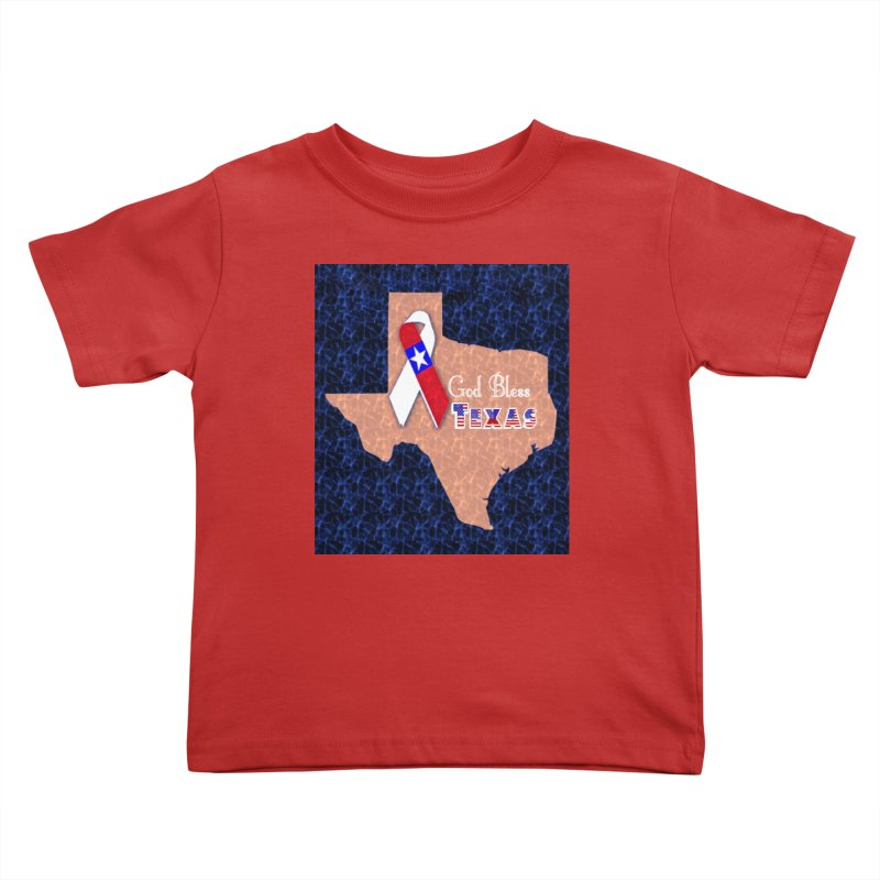 God Bless Texas Kids Toddler T-Shirt by Divinitium's Clothing and Apparel