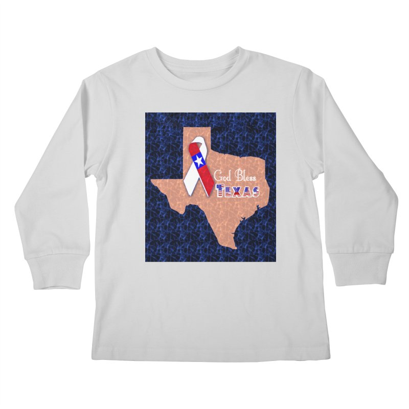 God Bless Texas Kids Longsleeve T-Shirt by Divinitium's Clothing and Apparel