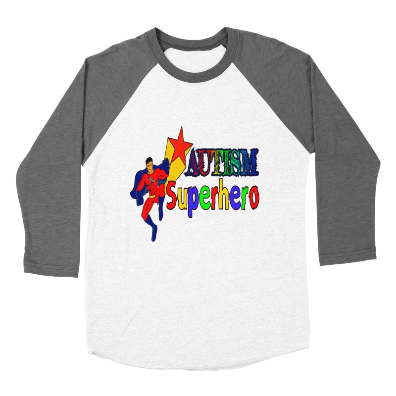 Autism Superhero Women's Baseball Triblend Longsleeve T-Shirt by Divinitium's Clothing and Apparel