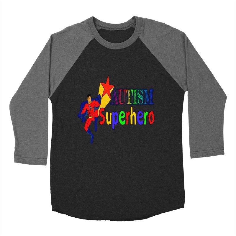 Autism Superhero Women's Baseball Triblend Longsleeve T-Shirt by Divinitium's Clothing and Apparel