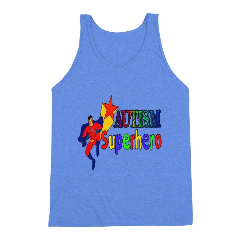 Autism Superhero Men's Triblend Tank by Divinitium's Clothing and Apparel