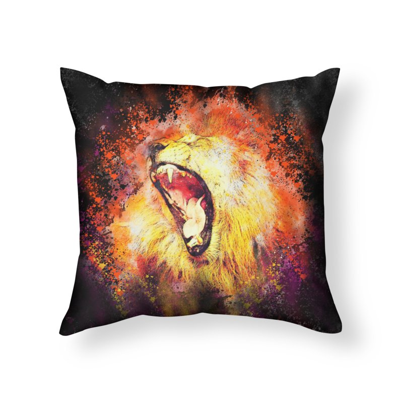 Let Them Hear You Roar (Black) Home Throw Pillow by Divinitium's Clothing and Apparel