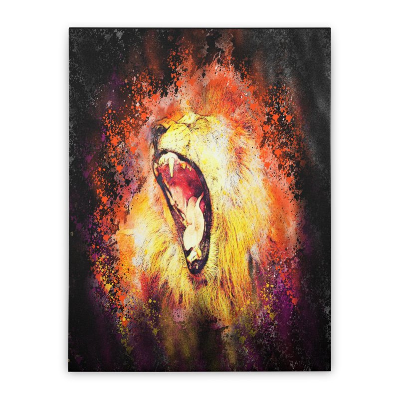 Let Them Hear You Roar (Black) Home Stretched Canvas by Divinitium's Clothing and Apparel