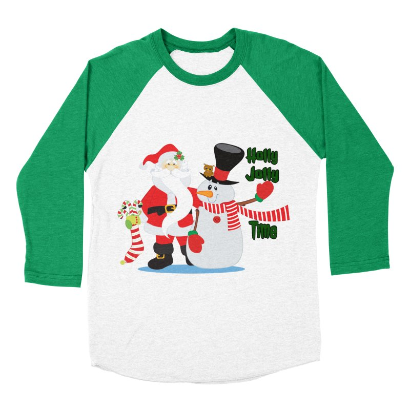 Holly Jolly Time Women's Baseball Triblend Longsleeve T-Shirt by Divinitium's Clothing and Apparel