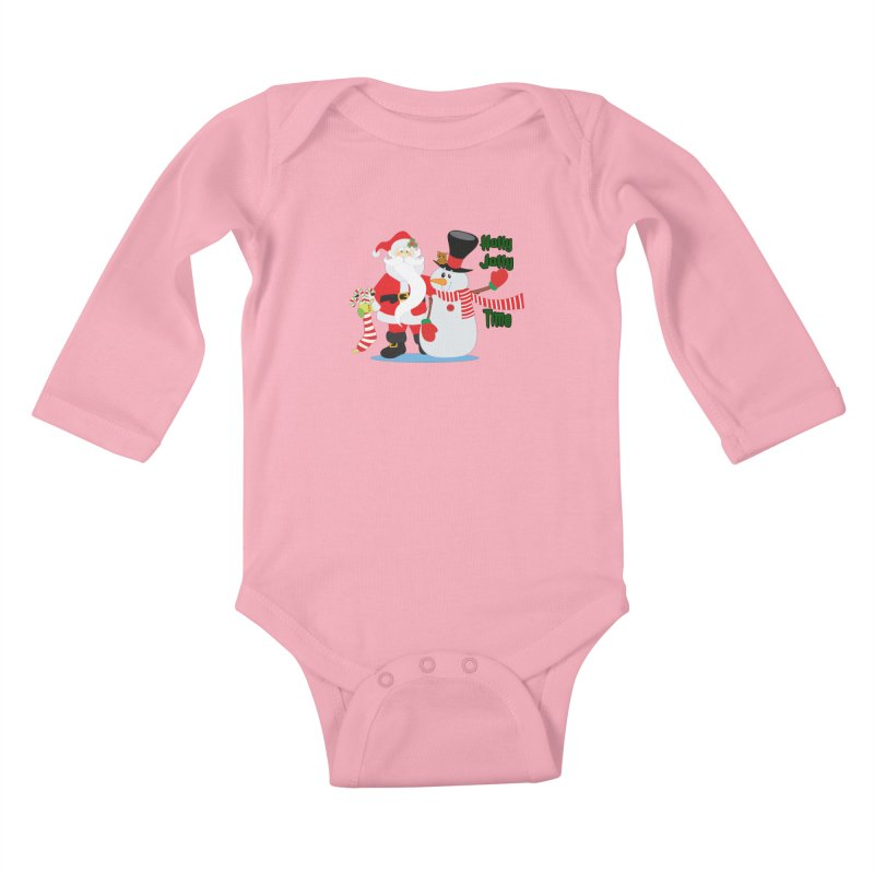 Holly Jolly Time Kids Baby Longsleeve Bodysuit by Divinitium's Clothing and Apparel