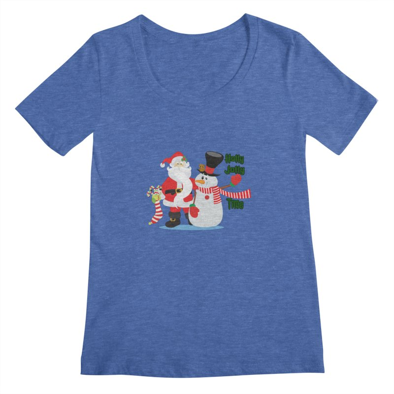 Holly Jolly Time Women's Regular Scoop Neck by Divinitium's Clothing and Apparel