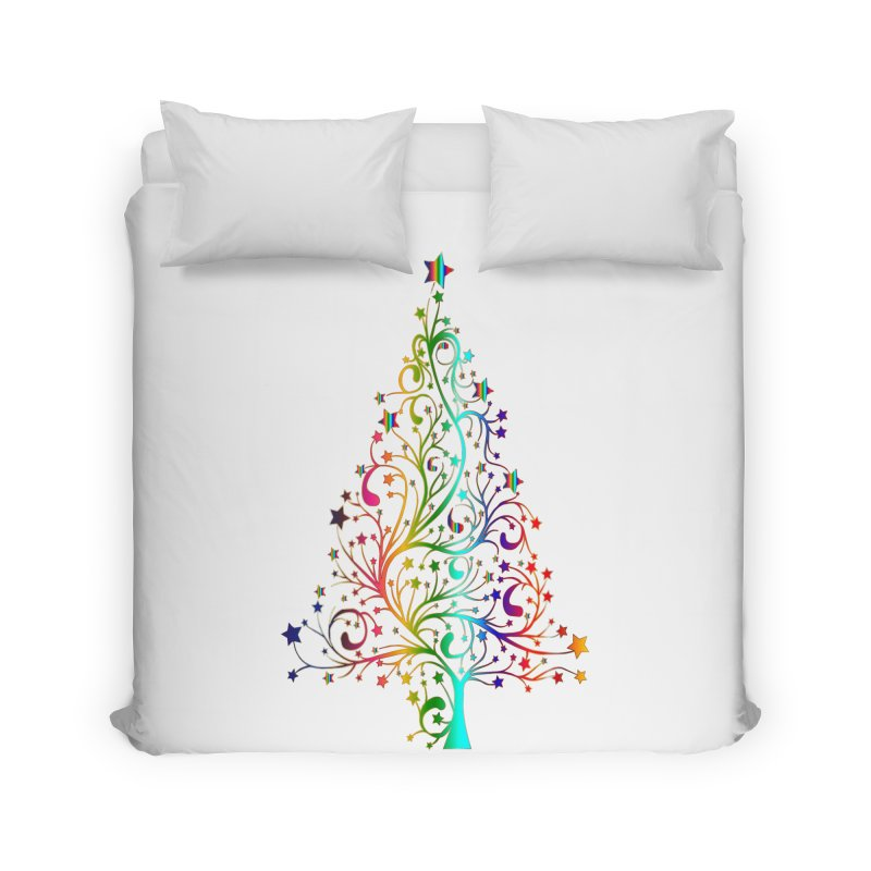 Rainbow Christmas Tree Home Duvet by Divinitium's Clothing and Apparel