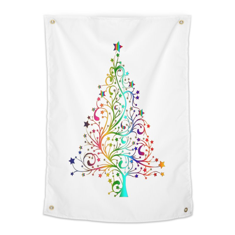Rainbow Christmas Tree Home Tapestry by Divinitium's Clothing and Apparel