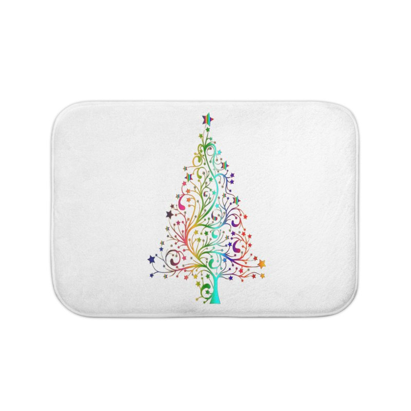 Rainbow Christmas Tree Home Bath Mat by Divinitium's Clothing and Apparel