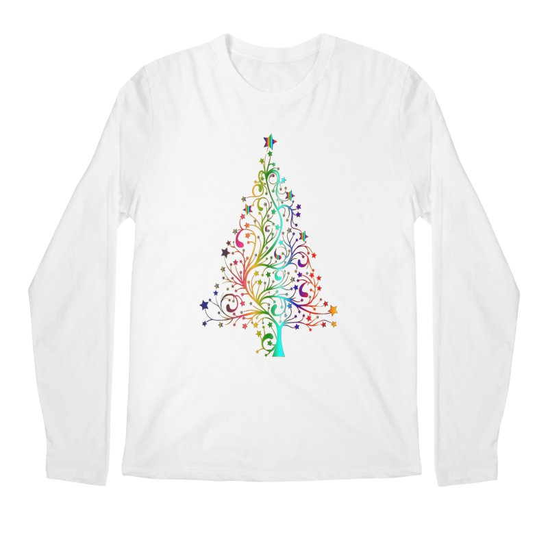 Rainbow Christmas Tree Men's Regular Longsleeve T-Shirt by Divinitium's Clothing and Apparel