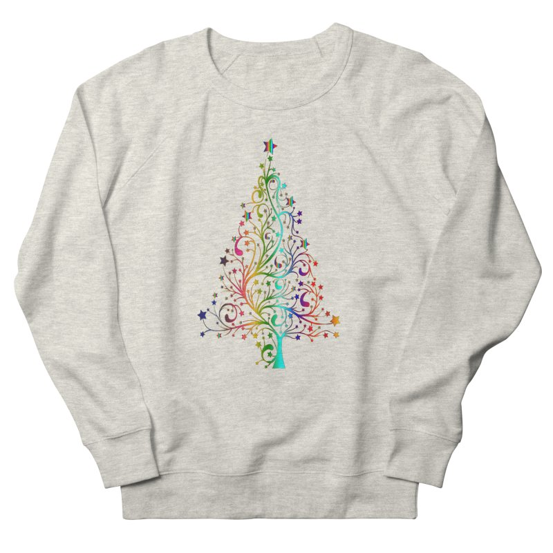 Rainbow Christmas Tree Men's French Terry Sweatshirt by Divinitium's Clothing and Apparel