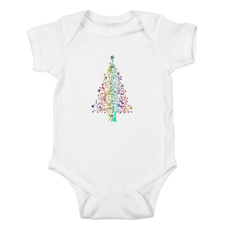 Rainbow Christmas Tree Kids Baby Bodysuit by Divinitium's Clothing and Apparel