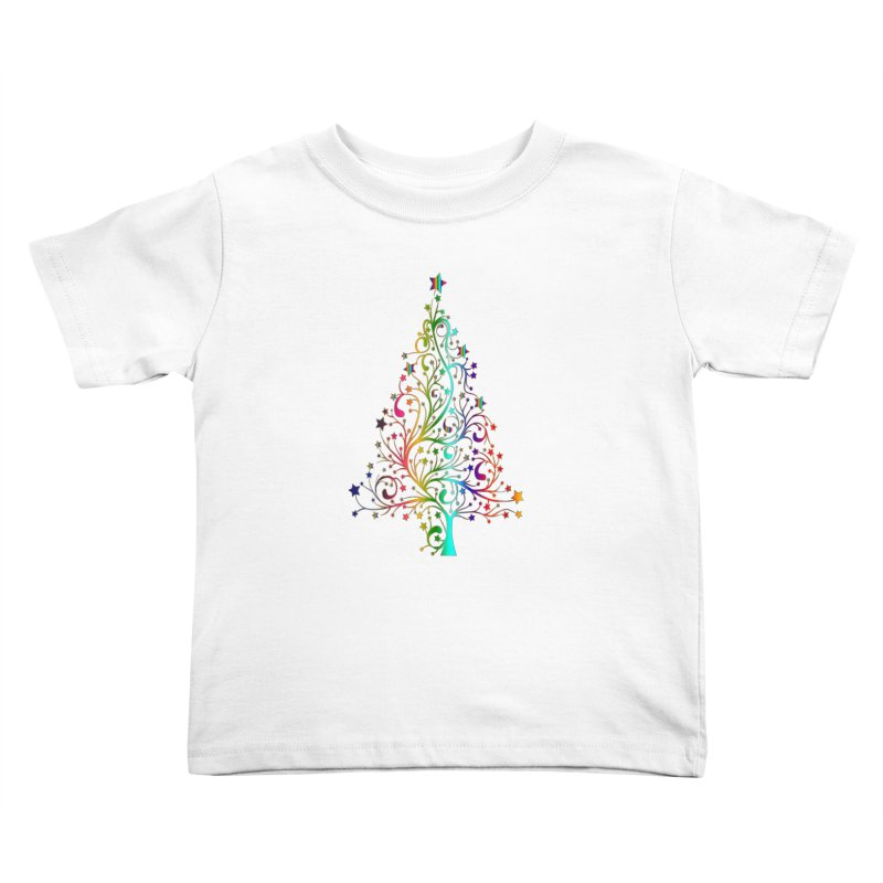 Rainbow Christmas Tree Kids Toddler T-Shirt by Divinitium's Clothing and Apparel