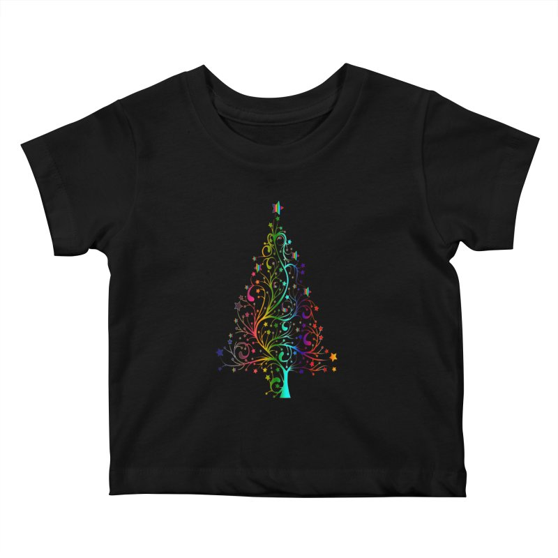 Rainbow Christmas Tree Kids Baby T-Shirt by Divinitium's Clothing and Apparel