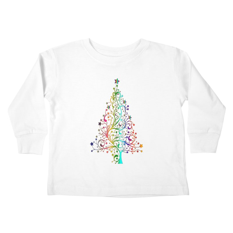 Rainbow Christmas Tree Kids Toddler Longsleeve T-Shirt by Divinitium's Clothing and Apparel