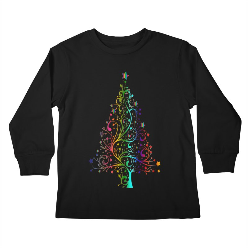 Rainbow Christmas Tree Kids Longsleeve T-Shirt by Divinitium's Clothing and Apparel