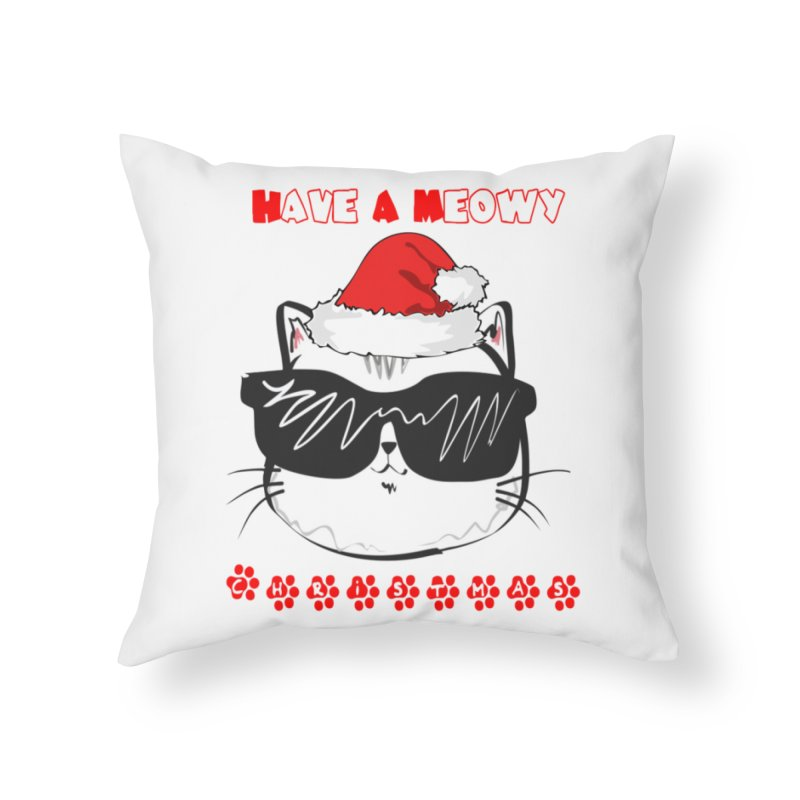 Have A Meowy Christmas Home Throw Pillow by Divinitium's Clothing and Apparel