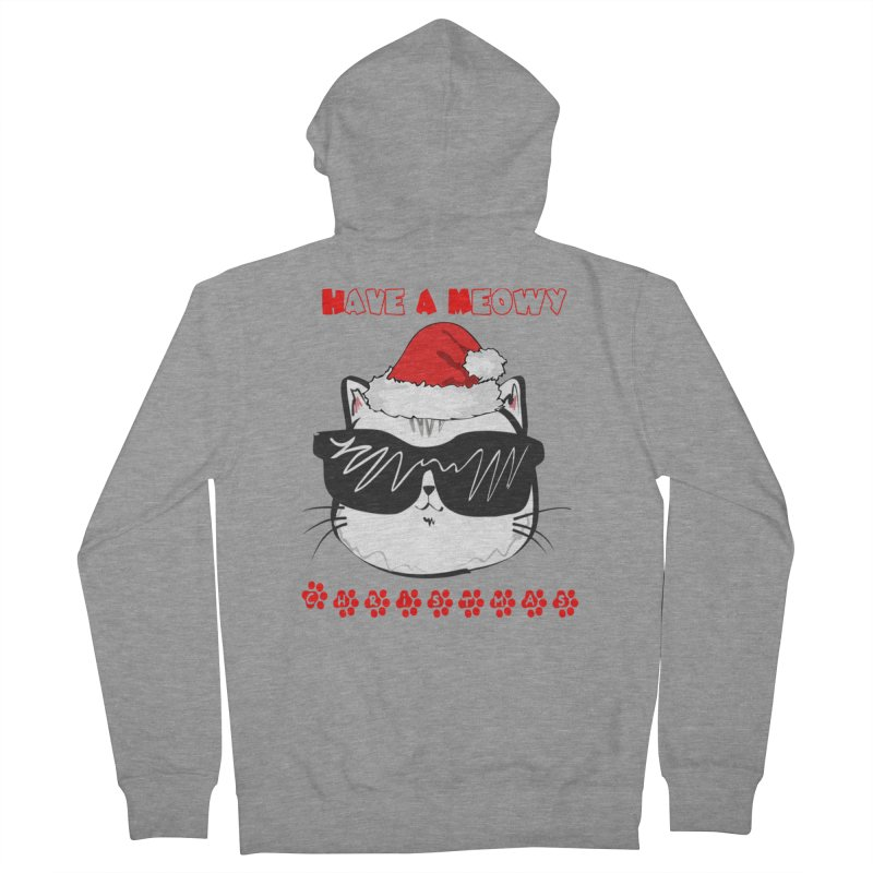Have A Meowy Christmas Men's French Terry Zip-Up Hoody by Divinitium's Clothing and Apparel