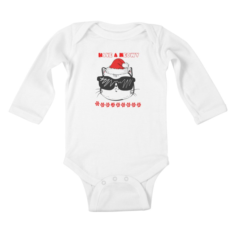 Have A Meowy Christmas Kids Baby Longsleeve Bodysuit by Divinitium's Clothing and Apparel