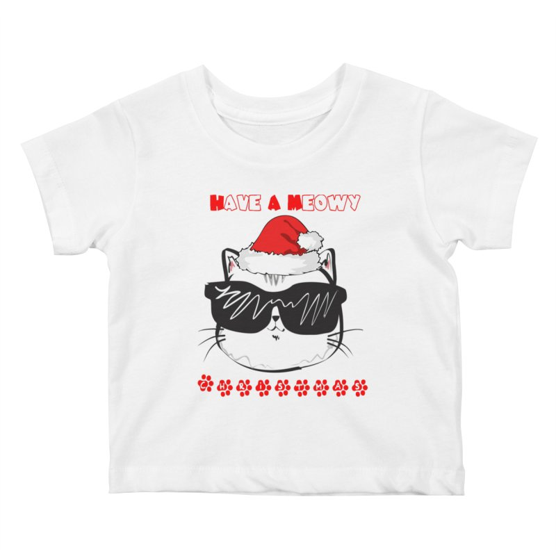 Have A Meowy Christmas Kids Baby T-Shirt by Divinitium's Clothing and Apparel