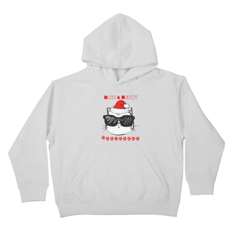 Have A Meowy Christmas Kids Pullover Hoody by Divinitium's Clothing and Apparel
