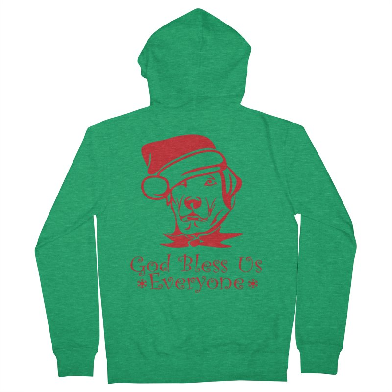 God Bless Us Everyone Men's French Terry Zip-Up Hoody by Divinitium's Clothing and Apparel