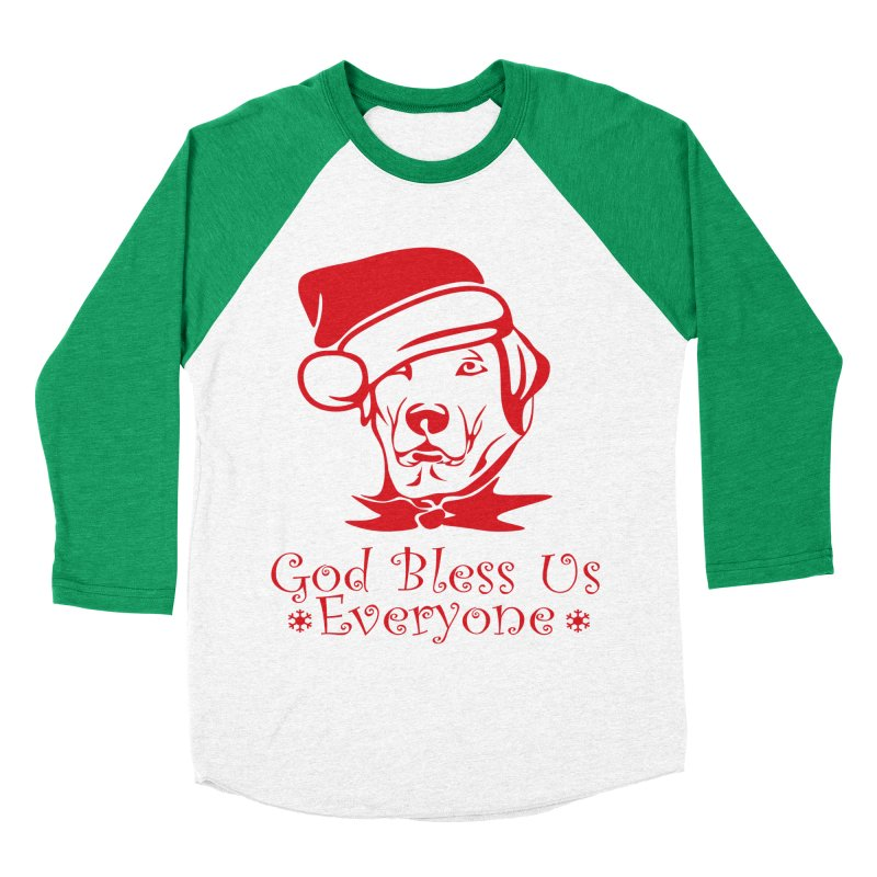 God Bless Us Everyone Men's Baseball Triblend Longsleeve T-Shirt by Divinitium's Clothing and Apparel