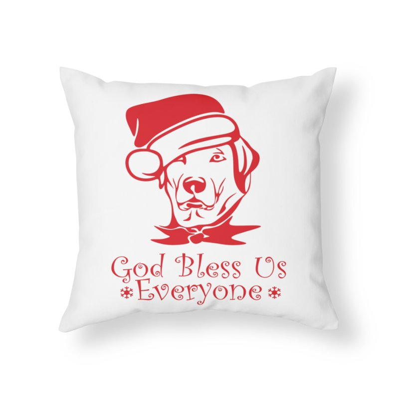 God Bless Us Everyone Home Throw Pillow by Divinitium's Clothing and Apparel