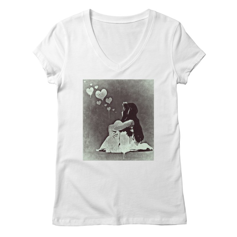 Lonely Heart Women's Regular V-Neck by Divinitium's Clothing and Apparel