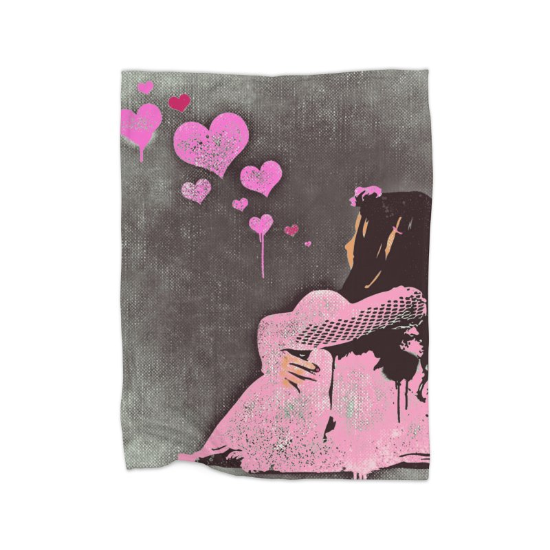Lonely Heart (Pink) Home Blanket by Divinitium's Clothing and Apparel