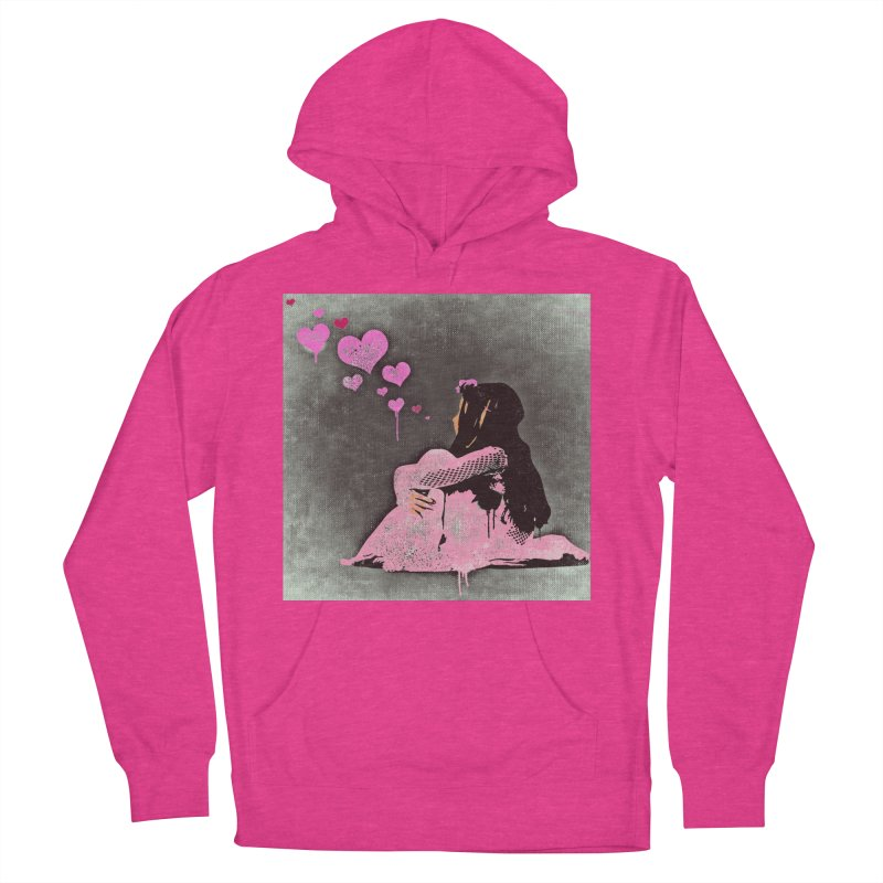 Lonely Heart (Pink) Women's French Terry Pullover Hoody by Divinitium's Clothing and Apparel