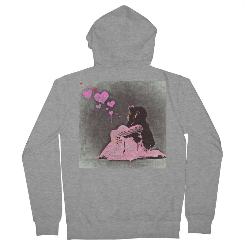 Lonely Heart (Pink) Women's French Terry Zip-Up Hoody by Divinitium's Clothing and Apparel